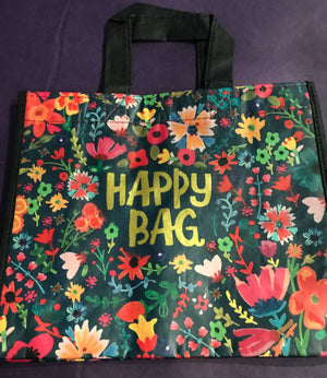 Recycled Plastic Giftbag (Medium) - Happy Bag (Teal Floral)