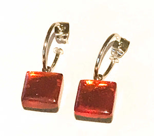 Rainbow square button creole earrings