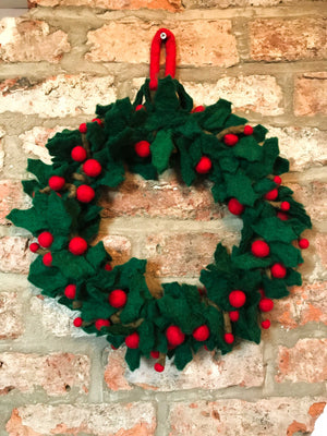 Felt Holly Wreath