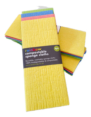 Compostable Sponge Cleaning Cloths - Rainbow (Pack of 4)