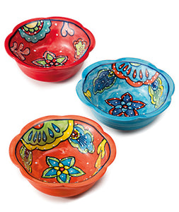 Hand-painted ceramic flower bowl