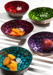 Coconut shell bowl with mother of pearl mosaic - 5 colours