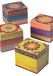 Hand-painted wooden box - Choice of 4 colours