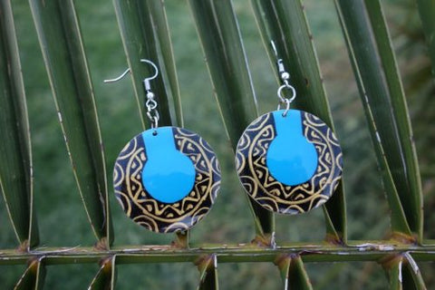 Totumo fruit earrings - Mucura Blue