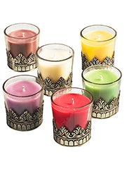 Karma Scented Candles in Metal-decorated Glass Jar