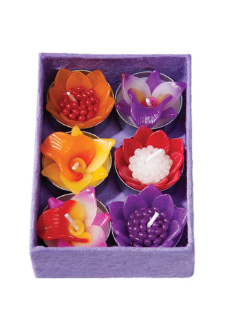 Box of 6 scented orchid flower tealights