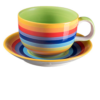 Rainbow Stripe Ceramic Large Cup and Saucer
