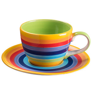 Rainbow Stripe Ceramic Coffee Cup and Saucer