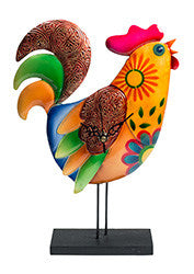 Funky rooster clock on a stand