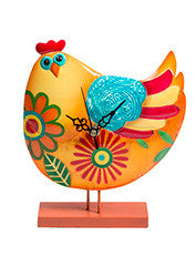 Happy hen clock on a stand