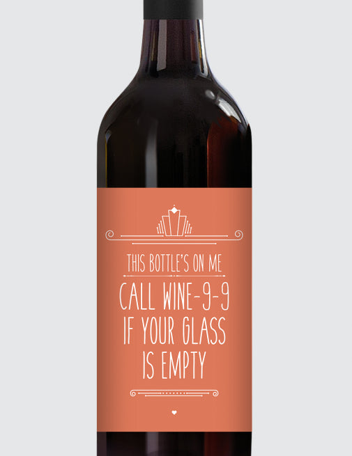 Message Bottle Labels - Call Wine-9-9...