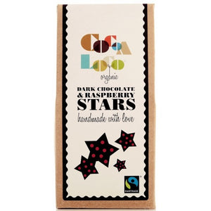 Organic Fairtrade Dark Chocolate & Raspberry Stars