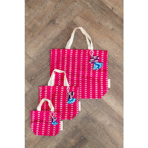 Batik Collection Fabric Gift Bags - Heart Design
