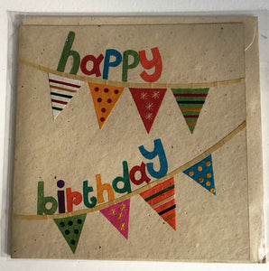 Hand made paper greetings card - Happy Birthday bunting