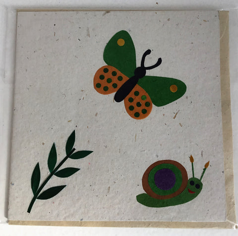 Hand made paper greetings card - Butterfly & Snail