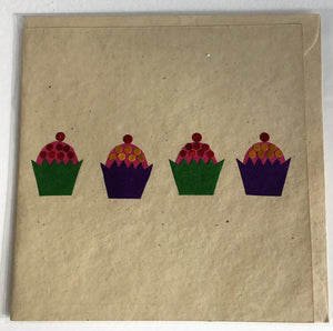 Hand made paper greetings card - Cupcakes