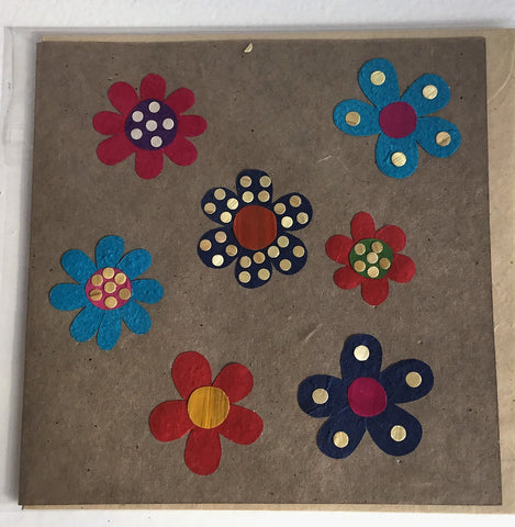 Hand made paper greetings card - Flowers