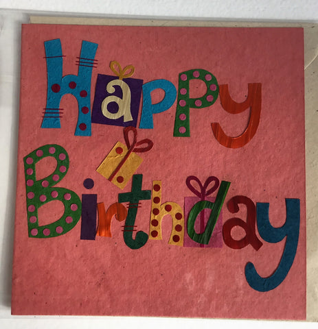 Hand made paper greetings card - Pink Happy Birthday