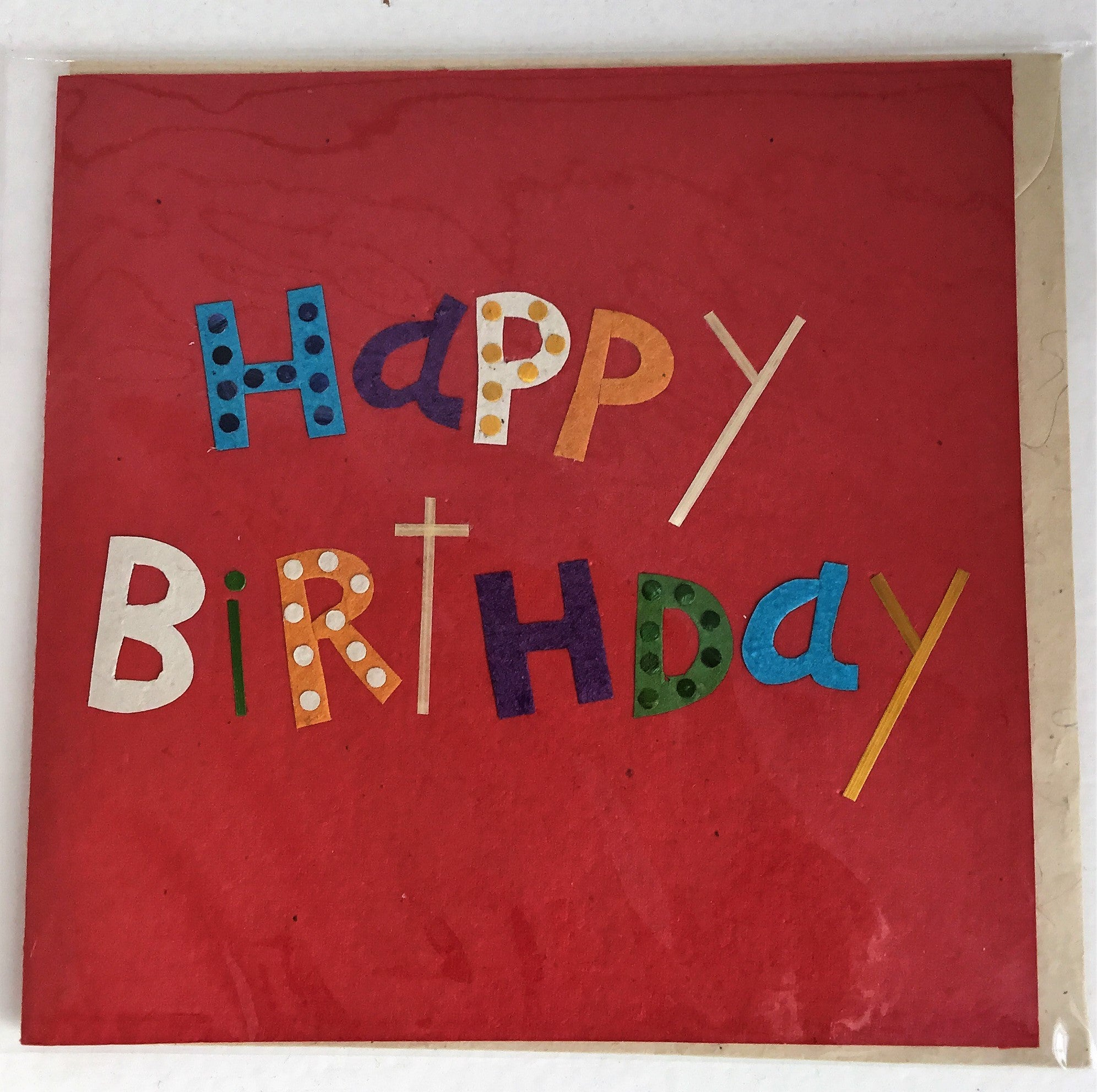 Hand made paper greetings card - Red Happy Birthday