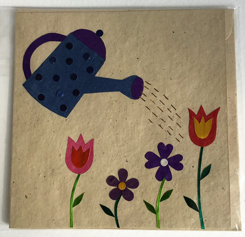 Hand made paper greetings card - Watering can