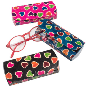 Heart Printed Leather Glasses Case