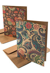 Flower/Paisley design recycled greeting cards - pack of 2