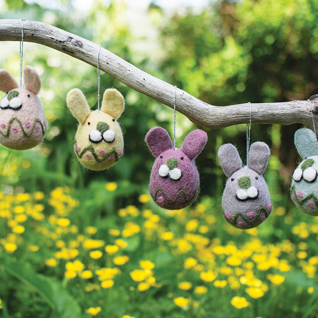 Embroidered Felt Easter Bunny Decorations