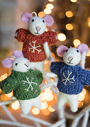 Felt Christmas Tree Decorations - Mice in Jumpers