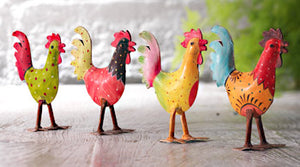 Hand-painted Standing Iron Rooster - Choice of 4 colours