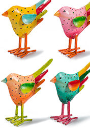 Hand-painted Dotty Iron Standing Bird - Choice of 4 colours
