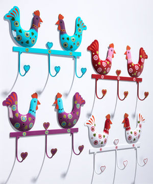 Hand-painted Iron Chicken Triple Hook - Choice of 4 colours