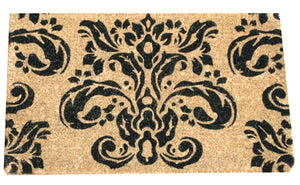 Black Brocade Pattern Coconut Fibre Doormat