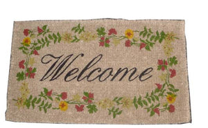 Floral Welcome Coconut Fibre Doormat