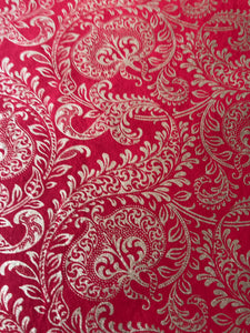 Luxurious recycled rag Christmas wrapping paper - Red Splendour