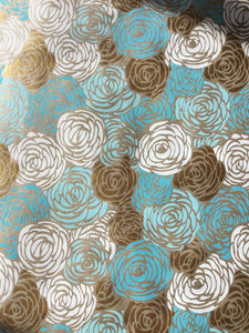 Ultimately Sustainable Wrapping Paper - Blue/White/Gold Rose