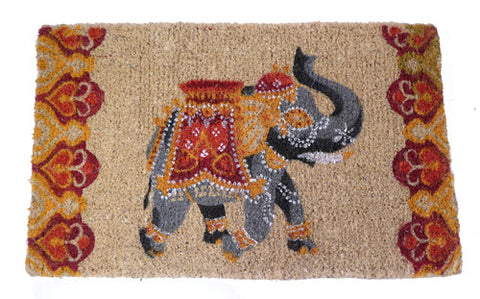Indian Elephant Design Coconut Fibre Doormat - Choice of 2 colours