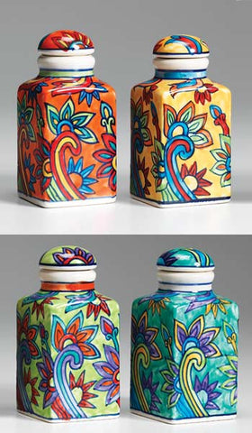 Hand-painted ceramic spice jar