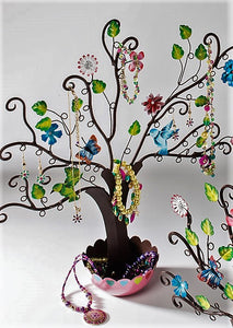 Jewellery tree with birds and flowers - large