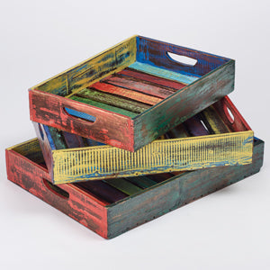 Funky splash-painted wooden trays - Choice of 3 sizes