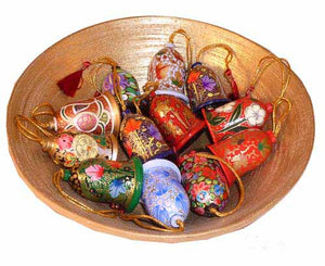 Classic Kashmiri Christmas tree decorations - Bell 2""