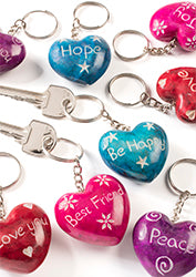Carved soapstone heart keyrings with message