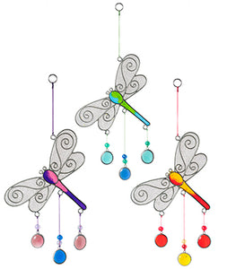 Dragonfly hanging light-catcher with beads - Choice of 3 colours