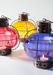 Antique copper glass ball lanterns - choice of 3 colours