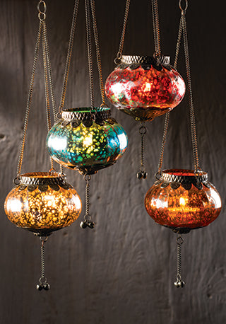 Hanging Silver Crackle Glass Lantern