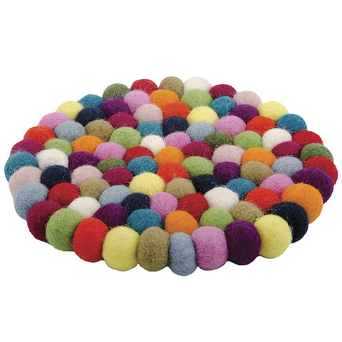 Rainbow Felt Ball Trivet/Placemat