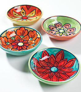 Hand-painted ceramic mini dishes - set of 4