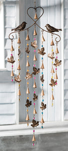 Leaf and bird windchime with bells