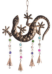 Hand made iron gecko windchime with mixed glass beads