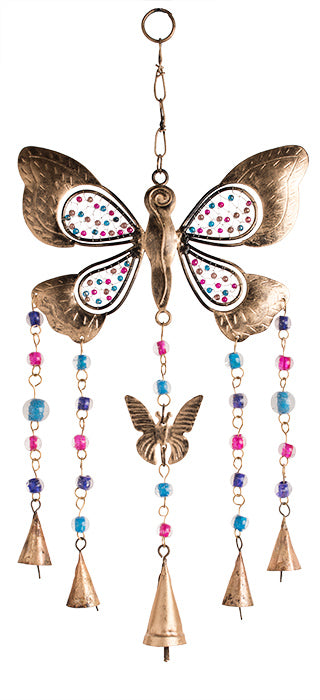 Multi-bead butterfly windchime with bells