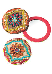 Embellished flower design compact mirror